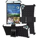 TARKAN Hard Armor Hybrid Rubber Bumper Flip Stand Rugged Back Case Cover For HTC Desire 826 (White)