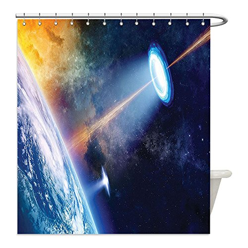 Quick Change Costumes Secret (Liguo88 Custom Waterproof Bathroom Shower Curtain Polyester Outer Space Decor Ufo Spotlight on Earth Secret Experiment Climate Change Terrestrial Fiction Decor Blue Orange Decorative bathroom)