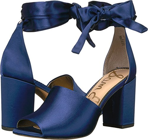 Bow Peep Toe Sandal (Sam Edelman Women's Odele Heeled Sandal, Poseidon Blue Satin, 9 Medium US)