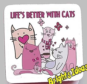 Mejor de la vida con gatos con imagen de dibujos animados gatos con mariposas posavasos café ...