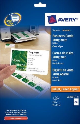 Avery C32011-25 Printable Business Cards with Matt Finish, 200 gsm, 250 Cards - White ()