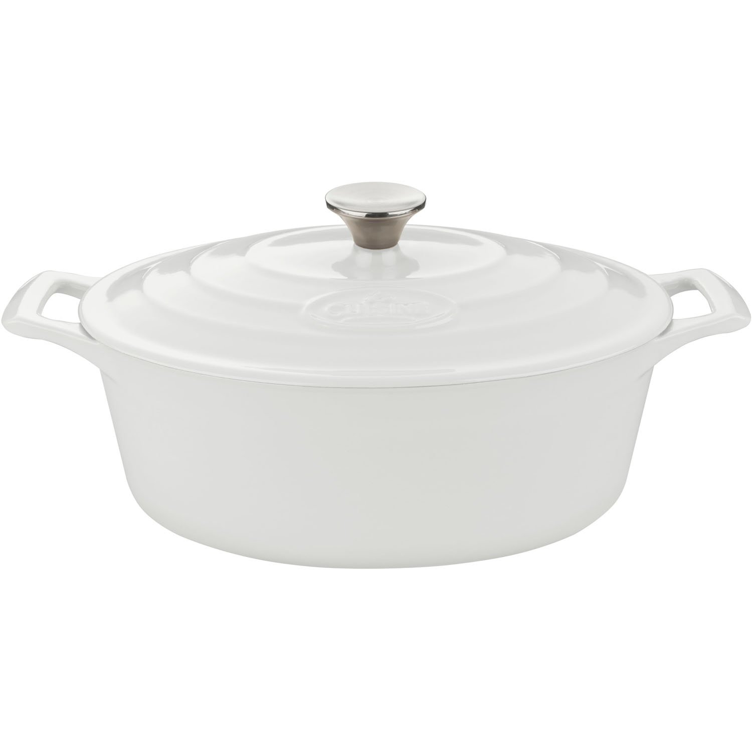 La Cuisine PRO 6.75 Qt Enameled Cast Iron Covered Oval Dutch Oven, White