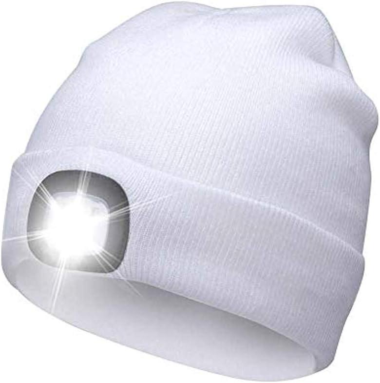 /à Piles pour la Chasse//Le Camping//Le Jogging en Plein air Youlala Chapeau tricot/é Chaud avec Lampe /à LED,Capuchon de Phare Unisexe