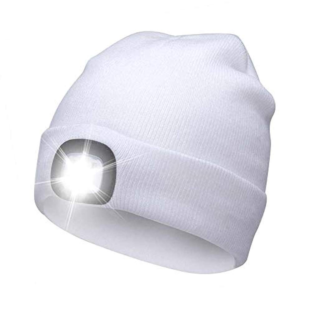 Edhua 4 LED Knit Hat Rechargeable Hands Free Headlamp Cap for Hunting,Camping,Grilling Running,Outdoor Activities