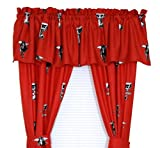 Texas Tech Red Raiders - Set of (2) Printed Curtain Valance/Drape Sets (Drape Length 63'') To Decorate Two Windows - Save Big By Bundling!