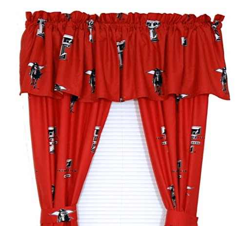 Texas Tech Red Raiders - Set of (2) Printed Curtain Valance/Drape Sets (Drape Length 63