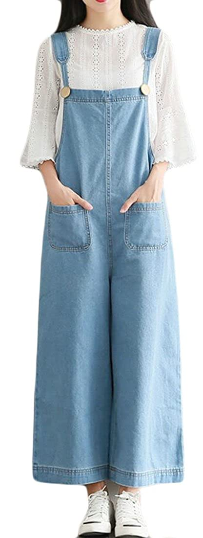 Fubotevic Women Thin Large Size Straps Ankle Loose Wide Leg Palazzo Lounge Pants Denim Overalls