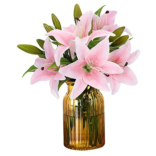 - RERXN Artificial Tiger Lily Latex Real Touch Flower Home Wedding Party Decor,Pack of 5 (Light Pink)