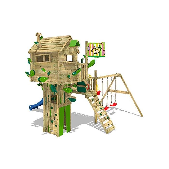 51A9YxROp L WICKEY Casa del árbol casa de juegos incl. mesa y un banco, techo de madera, paredes de escalada y un montón de accesorios Viga de columpio de 9x9cm, postes verticales de 7x7cm - Calidad y seguridad aprobada - Made in Germany Madera maciza impregnada en clave, de fácil mantenimiento - Instrucciones de montaje sencillas y detalladas