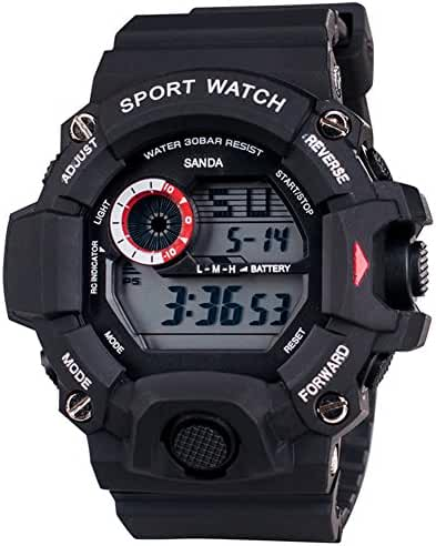 Cool Summer LED Digital Electronic Outdoor Waterproof Wrist Sport Watch rubber For Boys Black
