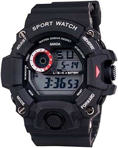 Cool Summer LED Digital Electronic Outdoor Waterproof Wrist Sport Watch rubber For Boys Black
