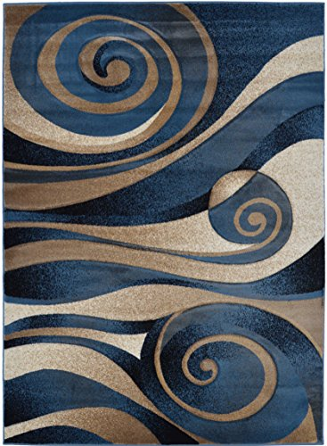 Rugs 4 Less Collection Abstract Contemporary Modern Area Rug Design R4L 258 Blue (5'2''x7'2'') by Rugs 4 Less