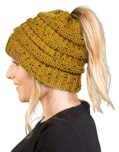 Winter Knits Kit - BT-6800-3372 Messy Bun Womens Winter Knit Hat Beanie Tail - Mustard (Confetti)
