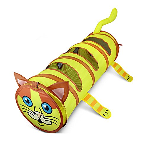 Yunt Cat Tunnel Collapsible Cute Cat Shaped Tunnel Tube with Three Peek Holes, Pet Toy for Cat Puppy Kitty Rabbits by Yunt
