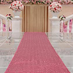 TRLYC 4FTX16FT Fuchsia Wedding Aisle Runner Glitter Carpert Runner for Wedding Decoration