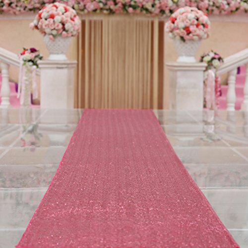 TRLYC 4FTX16FT Fuchsia Wedding Aisle Runner Glitter Carpert Runner for Wedding - Rug Runner Craft