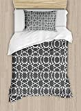 Arabian Duvet Cover Set by Ambesonne, Geometric Pattern in Arabian Style Islamic Architecture Classic City Buildings, 2 Piece Bedding Set with Pillow Sham, Twin / Twin XL, Charcoal Grey