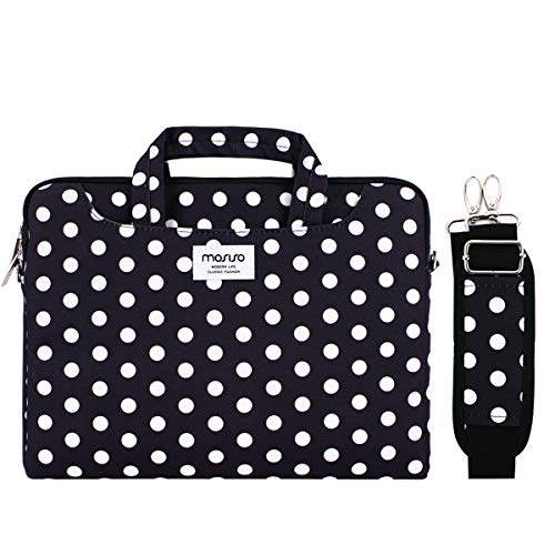 - MOSISO Laptop Shoulder Bag Compatible 13-13.3 Inch MacBook Pro, MacBook Air, Notebook Computer with Back Trolley Belt, Protective Carrying Handbag Briefcase Sleeve Case Cover, Black Base White Dots