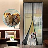 """Magicmoon Magnetic Screen Door, Full Frame Velcro, Fits Door Openings up to 34""""x82"""" MAX - Keep Fresh AIR in & Bugs OUT"""
