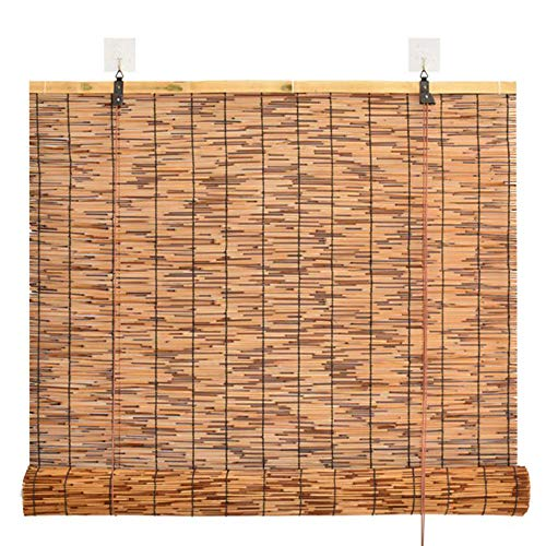 (Natural Reed Curtain Bamboo Roller Blind Shade Partition Curtain, Office Balcony Indoor and Outdoor, Decorations Customizable)