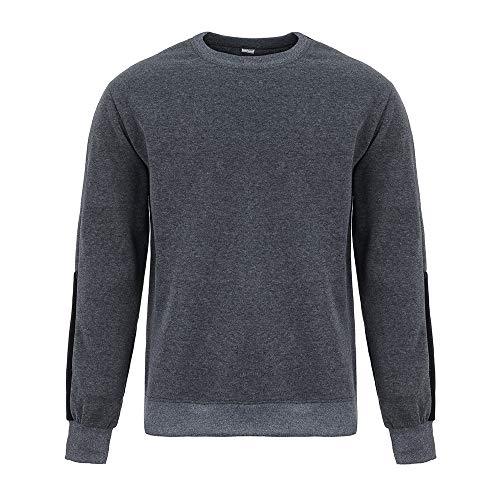 OSTELY Men's Pullover, Fashion Splicing Cashmere T-Shirt Autumn O-Neck Long Sleeve Top Fitted Slim Blouse (Gray,X-Large) ()