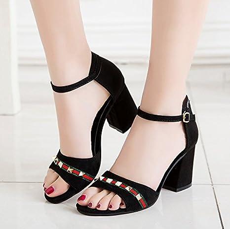 XY&GK Las mujeres sandalias de tacón verano cintas remaches bolsas ...
