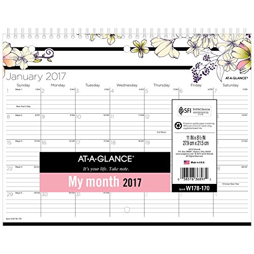 "AT-A-GLANCE Wall Calendar 2017, Monthly, 11 x 8-1/2"", Mini, Wirebound, Monique (W178-170)"