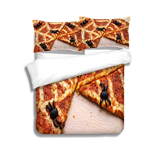 VROSELV-HOME Full Queen Duvet Cover Sets,Ideas for Halloween Pizza with Olives Spiders,Soft,Breathable,Hypoallergenic,Duvet Cover with Pillowcases Child Bedding Sets, -