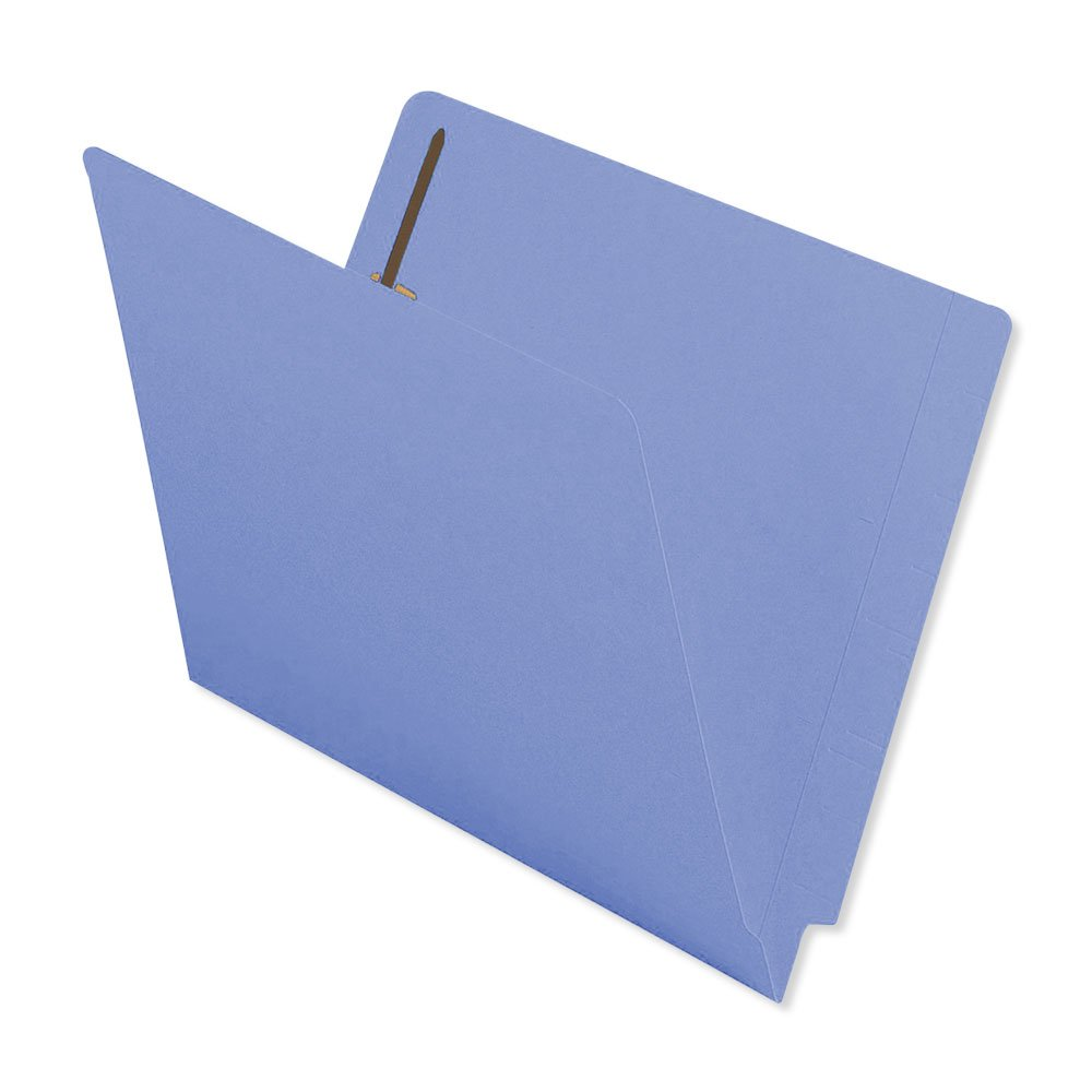 BARKLEY MATCH ETF134BE1 End Tab Folder, 2-ply, FAS #1 and #3 15Pt Color Stock, Flush Front, 12 1/4 x 9 1/2, Blue (Pack of 50)