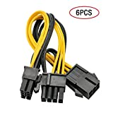 PARATOS 6 Pin to Dual PCIe 8 Pin (6+2) Computer Mining Rig PCI-E Graphics Card Power Adapter Extension Cable (6 Pack )