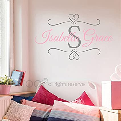 BATTOO Nursery Baby Girl Name Initial Wall Decal - Custom Name Decals  Monogram Personalized Wall Art Scroll Decal for Girl Bedroom Decor