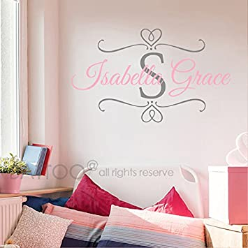 Initial Personalised Wall Decor Kids Baby Girls Art Bedroom Wall Stickers Name Nursery Décor