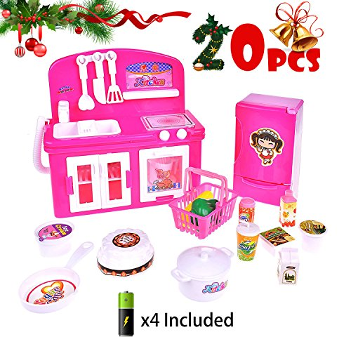 Kitchen Cooking Role Pretend Play Toy Cooker Set (Pink) - 1
