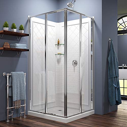 DreamLine Cornerview 36 in. D x 36 in. W  x 76 3/4 in. H Sliding Shower Enclosure in Chrome with White Base and Backwall Kit, DL-6150-01