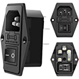 IEC320 C14 Male Power Socket 10A 250V Inlet Module Plug 5A Fuse Switch with 3 Pack by MXRS