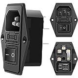 MXR - Juego de 10 adaptadores de Enchufe de alimentación para Panel CA 250 V, 10 A, IEC 320 y C14, Color Negro, 2