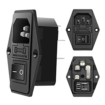 amazon com: mxrs inlet module plug 5a fuse switch male power socket 10a  250v 3 pin iec320 c14 (3 pack): electronics