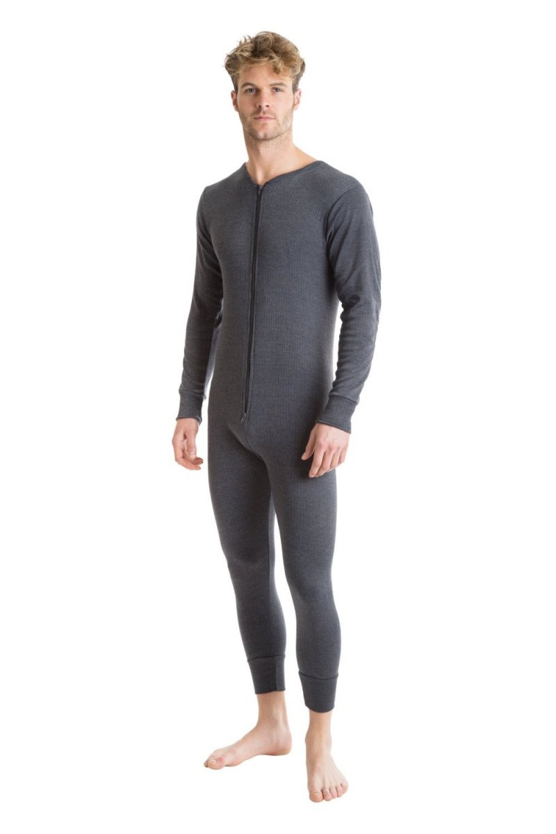 Octave 2 Pack Mens Thermal Underwear All in One Union Suit with Zipped Back Flap (Medium: Chest 36-38 inches, Charcoal)