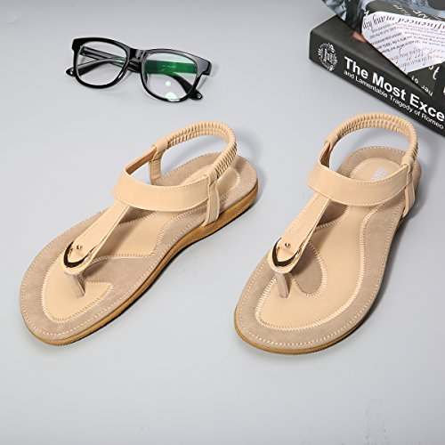 gracosy Bohemia Sandals, Women Summer Sandals Elastic T-Strap Flat Slippers Thongs Clip Toe Flats Sandals Beach Flip Flop Shoes Herringbone Shoes Soft Weightlight Water Shoes for Ladies Beige