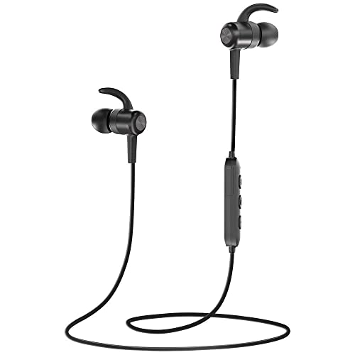 Bluetooth Headphones, TaoTronics IPX6 Waterproof Wireless Earbuds Sport Magnetic Earphones with 9 hours Playtime (Sweatproof, CVC 6.0 Noise Cancelling Mic, Snug Silicon Earbuds, Lightweight)