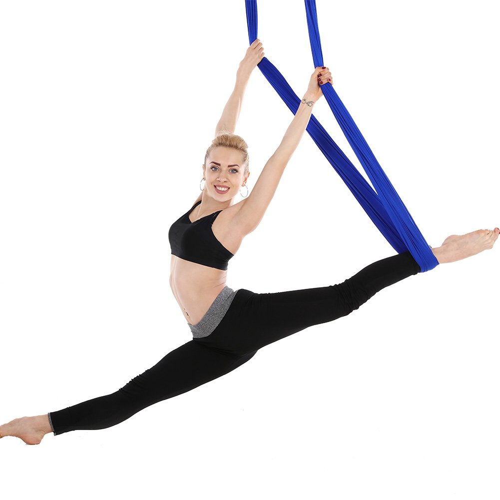 Tofern Aerial Yoga Hammock Kit 5.5 Yards Antigravity Trapeze Inversion Exercise Home Indoor Outdoor Yoga Silk Swing Sling Set with Hardware Ceiling Hooks Bolts 2 Extension Straps, Royal Blue by Tofern (Image #4)