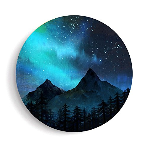 SUMGAR Framed Wall Art Starry Night Sky Over Mountains Landscape Prints Blue Wall Decor Ready to -