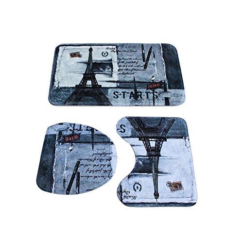 Eiffel Tower 3 Piece Bath Mat Sets, Ya Jin Flannel Fabric Non-slip Pedestal Rug + Lid Toilet Cover + Bath - Tower Water Mall