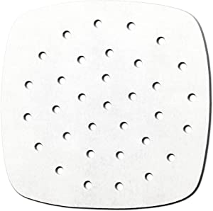 100pcs Air Fryer Liners,9 inch Premium Perforated Parchment Steaming Papers, Bamboo Steamer Liners, Non-stick Steamer Mat, Perfect for 3.2-3.7 QT Air Fryers,Baking,Cooking,Steaming,White