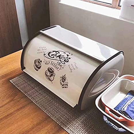 Daxerg Metal Bread Box Bin Kitchen Storage Containers Home Kitchen with Roll Top Lid