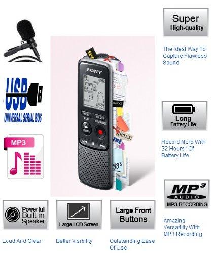 Sony ICDPX240 (ICDPX240M) MP3 digitale Diktiergeräte (IC Recorder) Maschine/Aufnahmegerät mit PC über USB LINK - 4 GB integrierter Speicher (bis zu 1043 Hours lange Akkulaufzeit) - einfache Bedienung (gleichen Familie wie ICD-PX333 und ICDPX333M) - integri