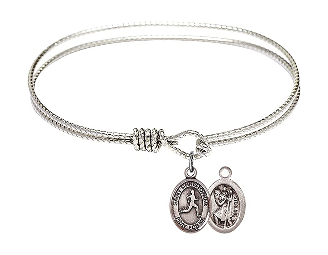 7 1//4 Inch Rhodium Plate Textured Bangle Bracelet with Saint Christopher Track and Field Petite Charm