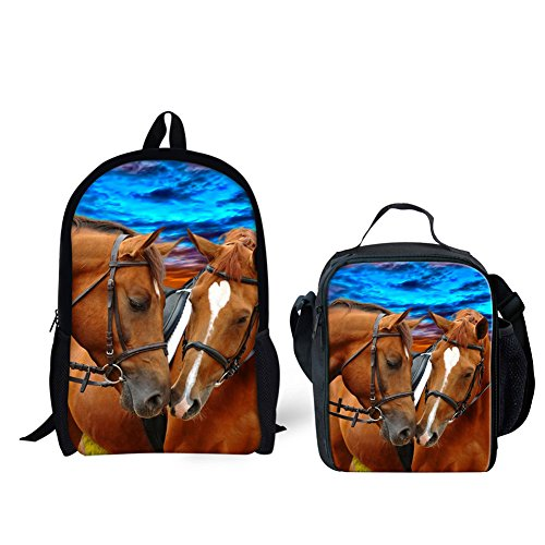 (HUGS IDEA Horse Printing School Backpack and Insulated Lunch Bag Set for Kids Boys)