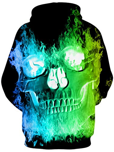 chicolife Unisex Adult 3D Skull Oversized Hoodie Women Colourful Graphic Printed Hoody Drawstring Pocket Green Fire Long Sleeve Pullover Hooded Sweatshirt L