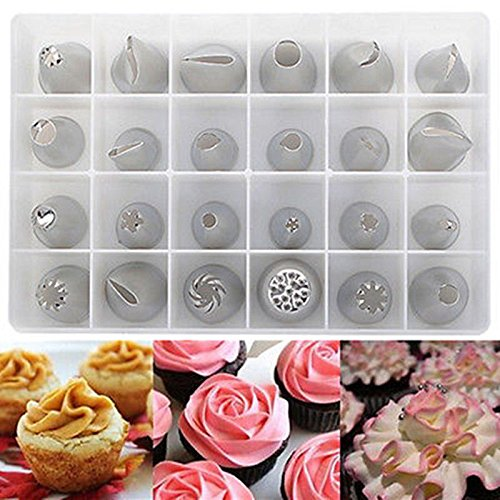 NEW 24 Pcs Icing Piping Nozzles Pastry Tips Cake Sugarcraft Decorating Super Set Of Tools #54